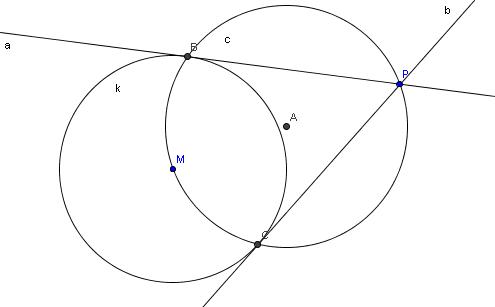 tangentenkonstruktion von einem punkt p an einen kreis. Black Bedroom Furniture Sets. Home Design Ideas